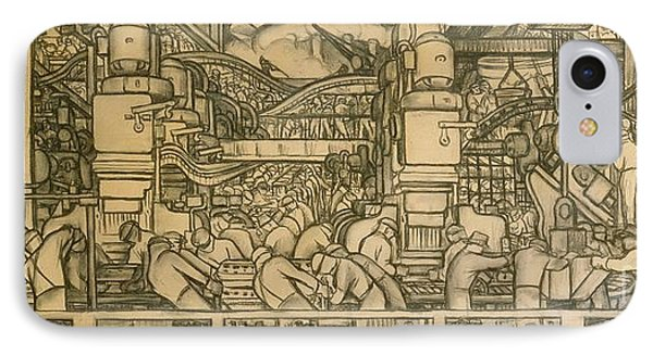 Presentation Drawing Of The Automotive Panel For The North Wall Of The Detroit Industry Mural IPhone Case