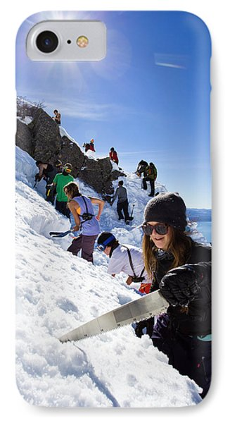 Knit Hat iPhone 8 Case - Professional Skier Using A Snow Saw by Ben Girardi
