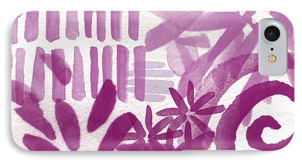 Orchid iPhone 8 Case - Purple Garden - Contemporary Abstract Watercolor Painting by Linda Woods