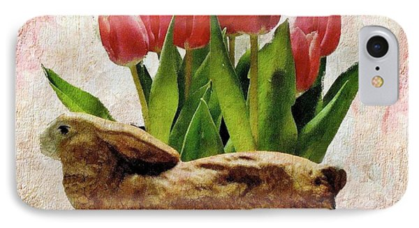 Rabbit And Pink Tulips IPhone Case