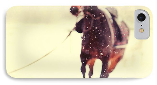 Horse iPhone 8 Case - Race In The Snow by Jenny Rainbow