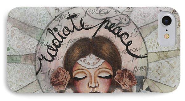 Radiate Peace Inspirational Mixed Media Folk Art  IPhone Case