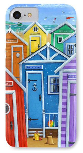 Beach iPhone 8 Case - Rainbow Beach Huts by Peter Adderley