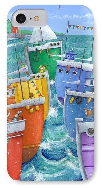 Boat iPhone 8 Case - Rainbow Flotilla by Peter Adderley
