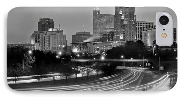 Raleigh Skyline At Dusk Evening Black And White Bw Evening Panorama North Carolina Nc IPhone Case