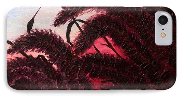 Raspberry Sunset Original Ornamental Grass Fine Art Print By Penny Hunt IPhone Case