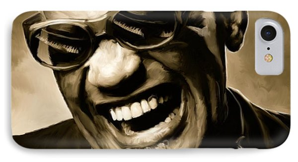 Music iPhone 8 Case - Ray Charles - Portrait by Paul Tagliamonte
