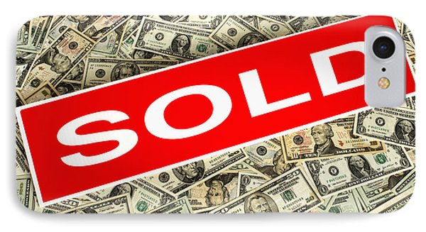 Real Estate Sold Sign Over Dollar Money Background IPhone Case