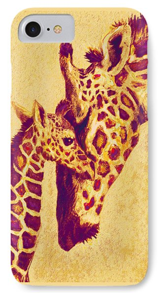 Red And Gold Giraffes IPhone Case
