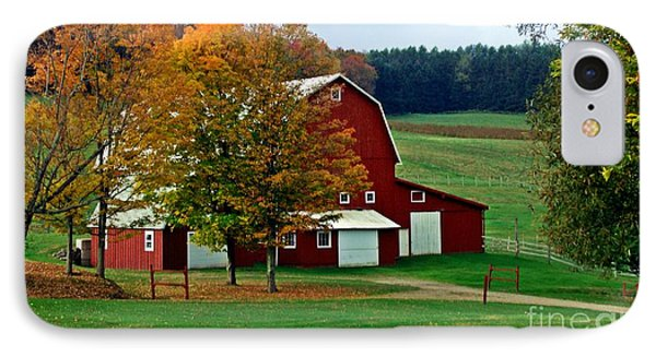 Red Barn In Autumn IPhone Case