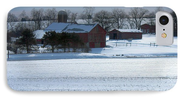 Red Barn In Snow Cover IPhone Case