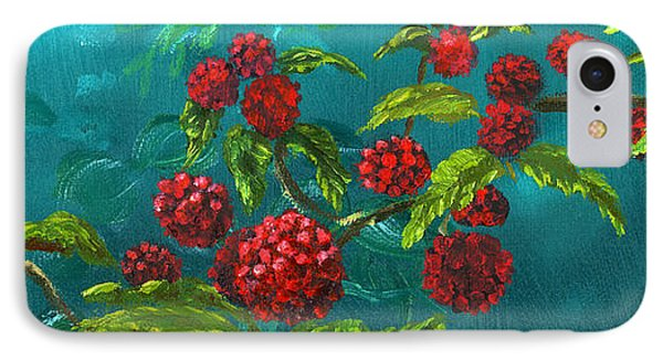 Red Berries In Blue Green Painting IPhone Case