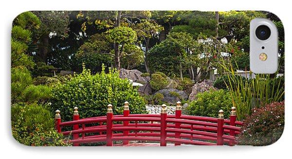 Red Bridge In Japanese Garden IPhone Case