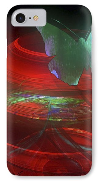Red Fractal Bowl With Butterfly IPhone Case