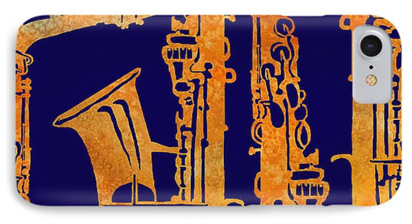 Saxophone iPhone 8 Case - Red Hot Sax Keys by Jenny Armitage
