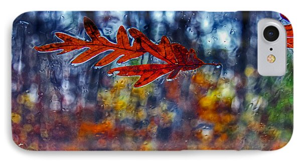 red leaves on windshield Dry Brush IPhone Case