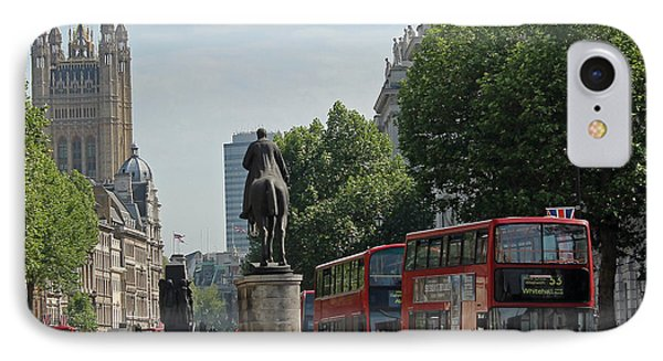 Red London Bus In Whitehall IPhone Case