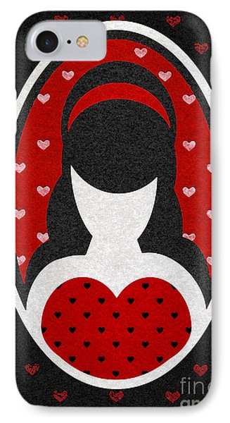 Red Love Heart Girl IPhone Case