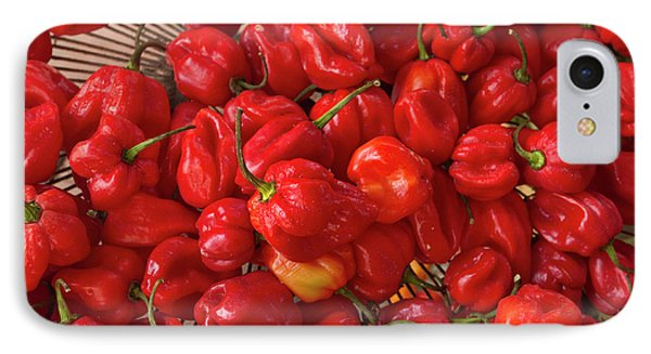 Belize iPhone 8 Case - Red Peppers At The Saturday Market, San by William Sutton
