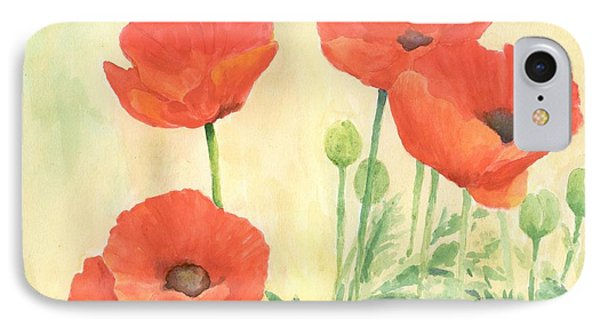 Red Poppies 3 Colorful Watercolor Poppy Floral Original Art Flowers Garden Artist K. Joann Russell IPhone Case
