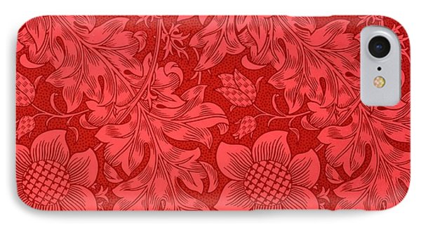 Nature iPhone 8 Case - Red Sunflower Wallpaper Design, 1879 by William Morris