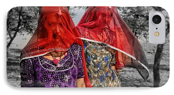 Red Veils In Rajasthan IPhone Case