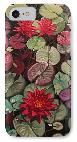 Red Water Lilies IPhone Case