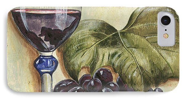 Red Wine And Grape Leaf IPhone Case