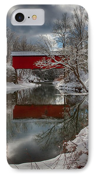 reflection of Slaughterhouse covered bridge IPhone Case