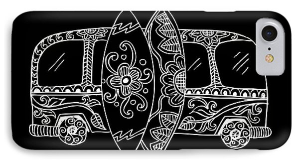 Truck iPhone 8 Case - Retro Bus With Surf Boards In Zentangle by Handini atmodiwiryo