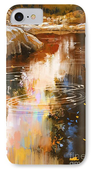 Beautiful Nature iPhone 8 Case - River Lines With Stones In Autumn by Tithi Luadthong