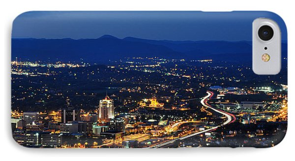 Roanoke City As Seen From Mill Mountain Star At Dusk In Virginia IPhone Case