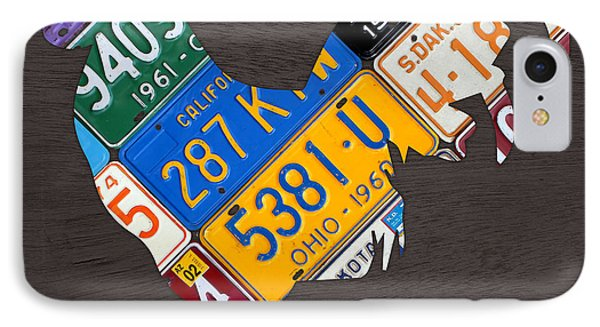 Rooster Recycled License Plate Art On Gray Wood IPhone Case