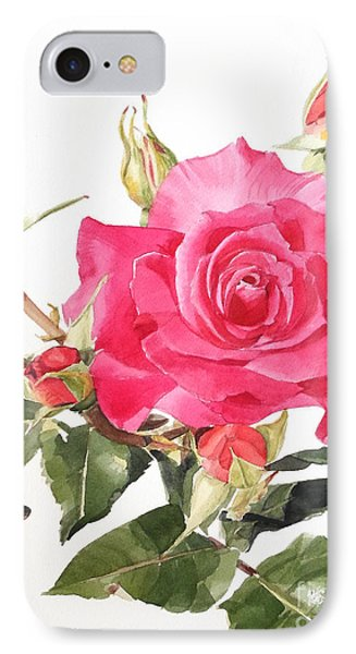 Watercolor Red Rose Margaret IPhone Case