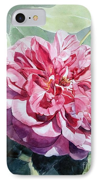 Watercolor Of A Pink Rose In Full Bloom Dedicated To Van Gogh IPhone Case
