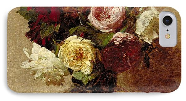 Rose iPhone 8 Case - Roses by Ignace Henri Jean Fantin-Latour
