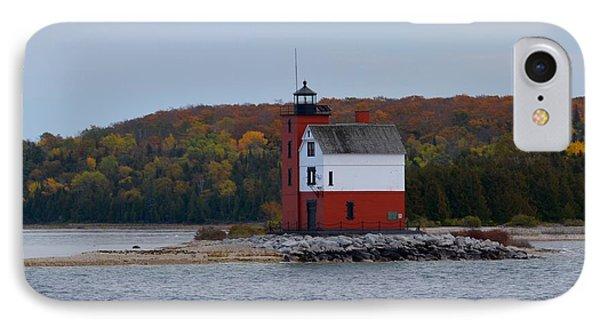 Round Island Lighthouse In Autumn IPhone Case