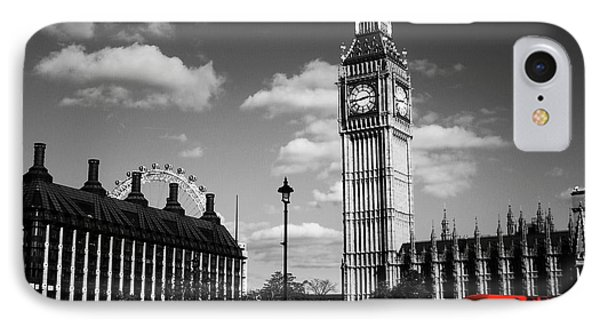 Routemaster Bus On Black And White Background IPhone Case