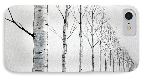 Row Of Birch Trees In The Snow IPhone Case