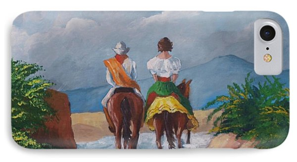 Sabanero And Wife Crossing A River IPhone Case