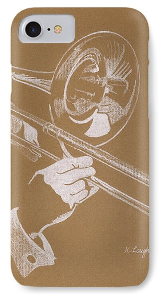 Music iPhone 8 Case - Sacred Trombone by Karen  Loughridge KLArt