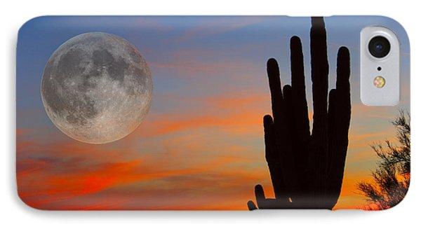 Saguaro Full Moon Sunset IPhone Case