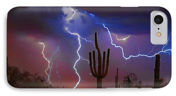 Saguaro Lightning Nature Fine Art Photograph IPhone Case