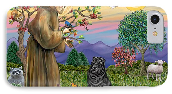 Saint Francis Blesses A Black Chinese Shar Pei IPhone Case