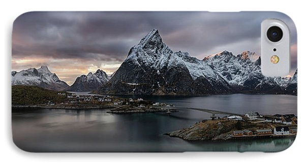 Sakrisoya Village On Reinefjorden Among IPhone Case