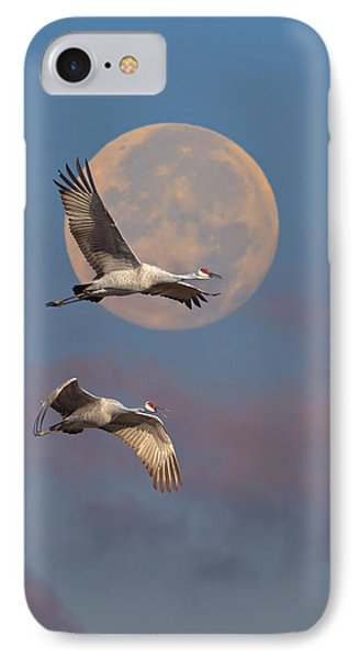 Sandhill Cranes Passing The Moon In The Morning IPhone Case
