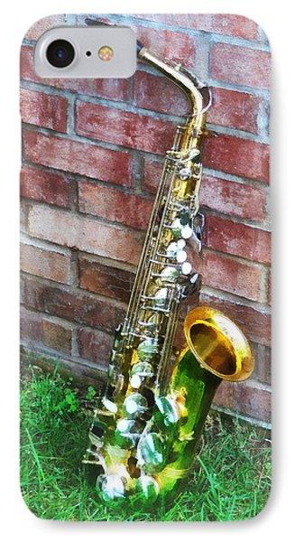 Saxophone Against Brick IPhone Case