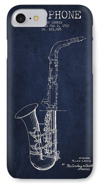 Saxophone Patent Drawing From 1937 - Blue IPhone Case