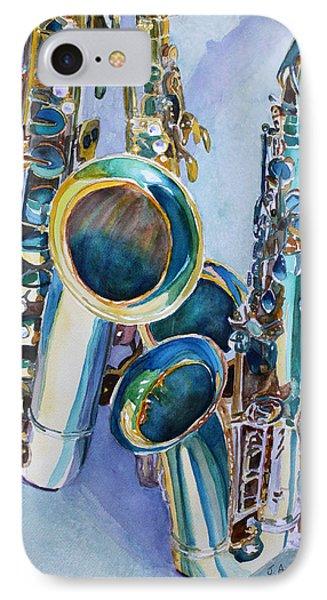 Saxophone iPhone 8 Case - Saxy Trio by Jenny Armitage