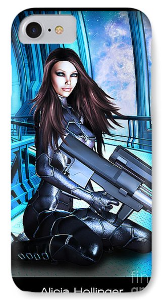 Sci-fi Brunette With A Big Gun IPhone Case